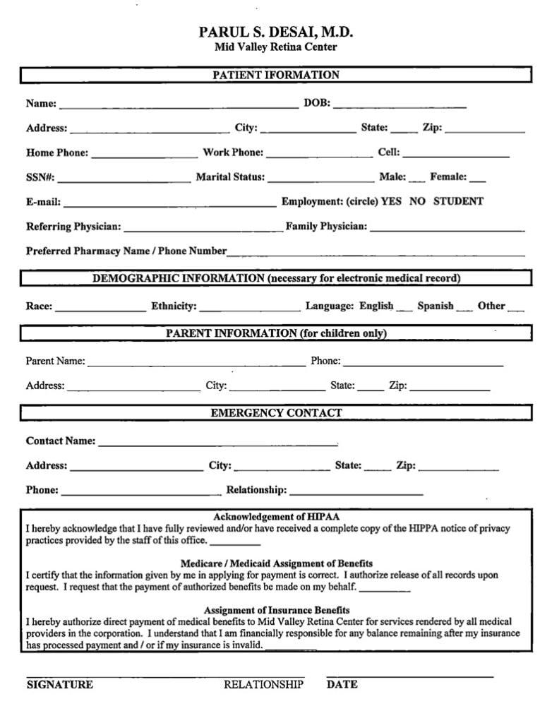 Desai Eye Center New Patient Registration Forms